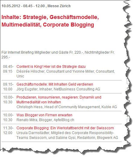 Inhalte: Strategie, Geschäftsmodelle, Multimedialität, Corporate Blogging