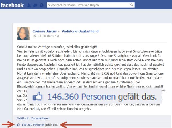 Beispiel eines Shitstorms auf der Facebookseite von Vodafone Deutschland