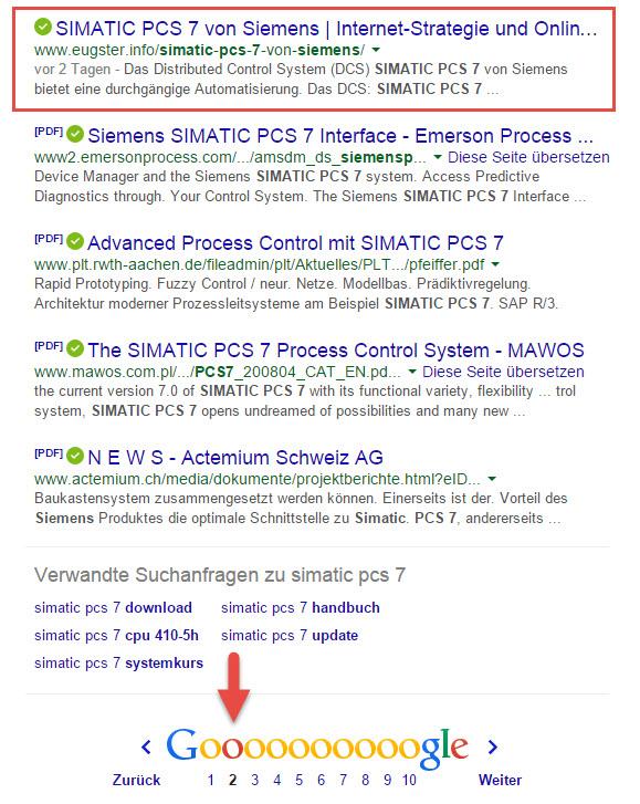 SIMATIC-PCS-7-Google-Ranking